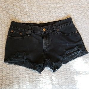 Levi's Distressed Black Shorts